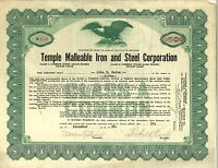 Temple Malleable Iron and Steel > 1928 Delaware old stock certificate share
