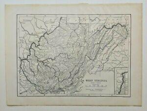 1911 Vintage WEST VIRGINIA Atlas Map Authentic Antique Encyclopedia Britannica