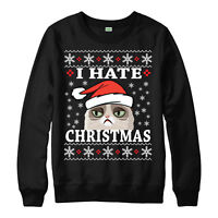 I HATE CHRISTMAS JUMPER GRUMPY CAT FESTIVE GIFT UNISEX ADULT & KIDS JUMPER TOP