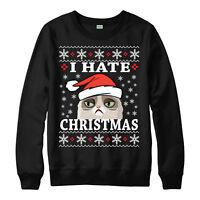 I HATE CHRISTMAS JUMPER GRUMPY CAT FESTIVE GIFT UNISEX ADULT & KIDS JUMPER TOP