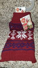 Pet Clothes Dog Cat Knitted Sweater Size Xsmall XS Burgundy Winter Snow Flake
