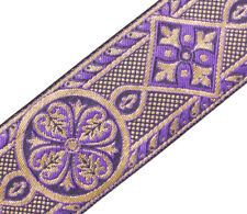 "2 3/8"" Wide Jacquard Trim Medieval Style Purple & Gold Church Vestment 3 Yards"