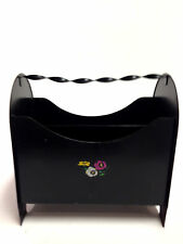 Heavy Duty Black Wrought Iron Magazine Rack with Hand Painted Floral Design
