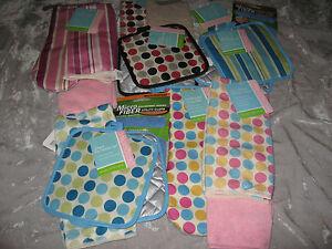 Kitchen Towel Pot Holders Oven Mitt Dish Cloths Microfiber Stripe Polka Dot NEW!