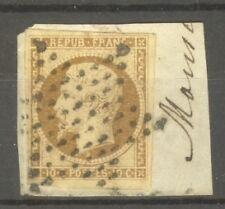 "FRANCE STAMP TIMBRE N° 9 "" LOUIS-NAPOLEON 10c BISTRE-JAUNE 1852 "" OBLITERE TB"