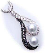 Colgante Cultivadas Perlas Circonia Negro Blanco Plata GENUINA DE LEY 925 Unisex