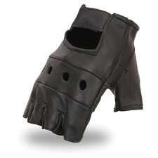 Quality Fingerless Black Genuine Leather Motorcycle Riding Cruising Gloves
