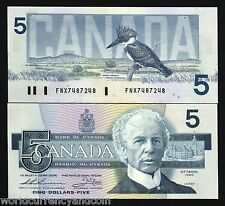 CANADA $5 P95 1986 KINGFISHER UNC FNX REPLACEMENT BIRD BANK NOTE