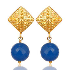 Ball Style Blue Chalcedony Brass Earrings 14K Gold Plated Fashion Jewelry