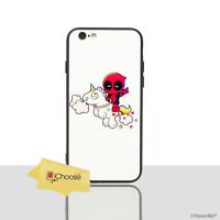 """Tempered Glass Deadpool Case/Cover Apple iPhone 7 (4.7"""") / Riding Unicorn"""