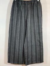 ESKANDAR 100% Linen Gray & Silver Striped Wide Pants Size 2