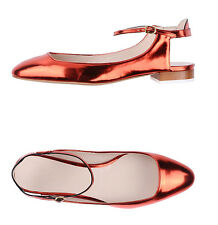 Chloe Metallic Leather Slingback Flats Ballerinas in Red Size 37
