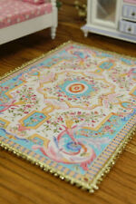 Baby Blue Dollhouse Miniature Rug Full Small Floral Stunning Nice Lace 1:12