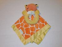 Carters Giraffe Security Blanket Rattle Orange Yellow Pattern Lovey Satin Edges