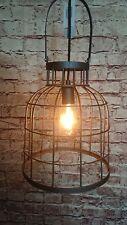 Gitter lampe hänge Leuchte antik schwarz vintage retro Metall lntustrie Loft