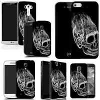 art case cover for All popular Mobile Phones -inferno skull black silicone