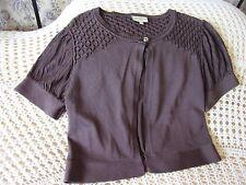 Sort sleeved brown cardigan by KAREN MILLEN Size 2 & 8 Diamond pattern