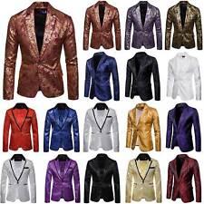 Men Sequins Tuxedo Suit Lapel Coat Blazer Gentleman Party Formal Jacket Coats US