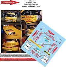 DECALS 1/24 REF 283 SUBARU IMPREZA WRX JALOUZOT RALLYE LA ROCHELLE 1999 RALLY