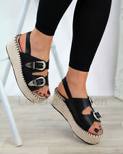 New Womens Mid Wedge Heel Sandals Buckle Slingback Espadrille Shoes Sizes 3-8