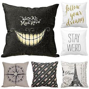 """Pillow Case Linen Cotton Cushion 18"""" Cover Sofa Throw Bedroom Throw Home Decor"""