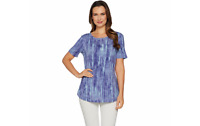 Lisa Rinna Collection Printed Knit Top with Back Detail Blue XL A291099 QVC J