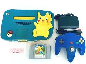 Nintendo 64 console Pokemon Pikachu blue Yellow Japan N64 tested working