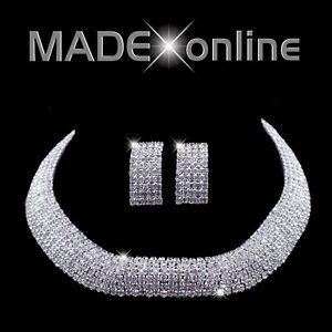 Chunky 7 Line Collarette Diamante Bling Necklace Set