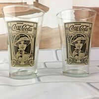 Vintage Coca Cola  Turn of The Century Clear Glasses Set of 2
