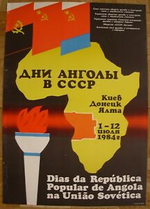 Soviet Ukrainian Original POSTER Angolas' days in USSR Africa