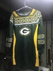Klew Green Bay Packers Women's or Juniors Christmas Sweater Dress Small NFL Team