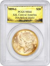 1857-S Shipwreck $20 PCGS MS66 (Spiked Shield, Gold Foil) ex: D.L. Hansen