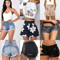 Ladies Vintage Ripped Womens High Waisted Stonewash Denim Shorts Jeans Hot Pants