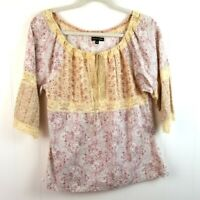 Bergdorf Goodman Lace Detail Peasant Top Feminine Floral Blouse French Cotton M