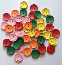 50 Colorful Buttons Wood Sewing Button Jacket Children Sweater Fastener Craft