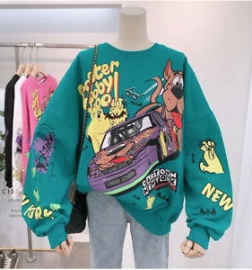 Women's Oversized Jumper Pullover Scooby Doo Remake Print FAST UK DELIVERY