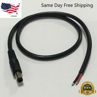 """12v DC Power Cord 5.5mm x 2.1mm Male Plug to Pigtail Cable Adapter 6"""""""
