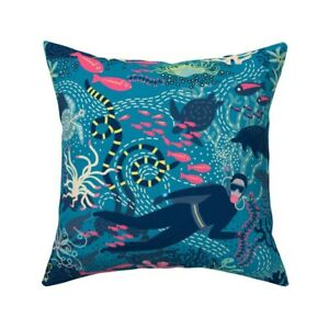 Scuba Diver Diving Teal Throw Pillow Cover w Optional Insert by Spoonflower