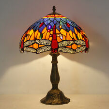 """Tiffany Style Blue Dragonfly Table lamp Dia 12"""" Stained Glass Table Reading Lamp"""