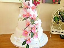 HAND MADE SUGAR ORCHIDS TRAILING TWO SPRAYS IN PINK, ALSO IN MORE COLOURS