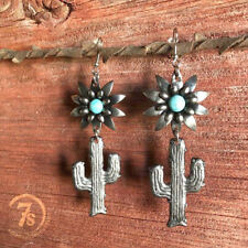 Women 925 Silver Turquoise Ear Hook Stud Dangle Drop Flower Cactus Earrings