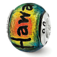 Hawaii Orange Dichroic Glass Bead .925 Sterling Silver Reflection Beads