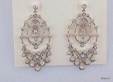 "MONET EARRINGS CHANDOLIER SILVER bridal BRIGHT CRYSTALS NWOT PIERCED 2"" ELEGANT"
