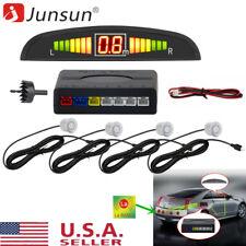 4 Parking Sliver Sensors LED Display Car Rear Reverse Backup Radar System Alarm