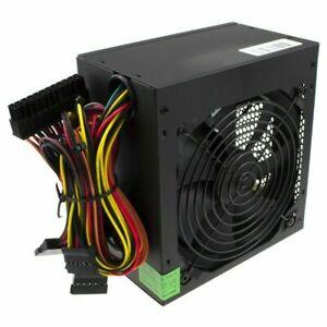Black 600W ATX Computer PC PSU Power Supply Unit 600 Watt 120MM Silent Fan UK