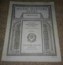 Music Mastery Series Greenwald Piano Music Lesson Book #16920 antique 20 Studies