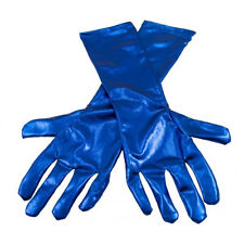 METALLIC BLUE 39CM LENGTH GLOVES STAGE FANCY DRESS