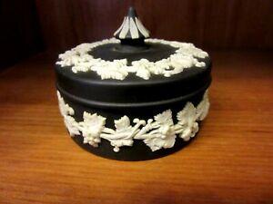 Wedgwood Black And White Jasperware lidded pot Trinket Box 6cm tall Vintage
