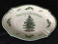 Spode Merry Christmas Tree Serving Tray 11x7Inch White Ceramic Green Tree Border