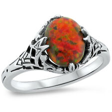 ORANGE LAB FIRE OPAL ANTIQUE DECO STYLE .925 STERLING SILVER RING SIZE 9,  #245
